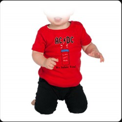 Camiseta bebé ACDC roja
