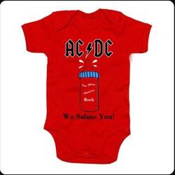 Body rojo AC/DC biberón
