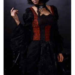 Vestido negro/rojo con gargantilla